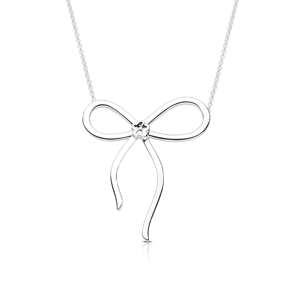 Bow Pendant Necklace in Sterling Silver