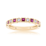 Diamond & Ruby Bezel Stackable Ring in 14K Yellow Gold