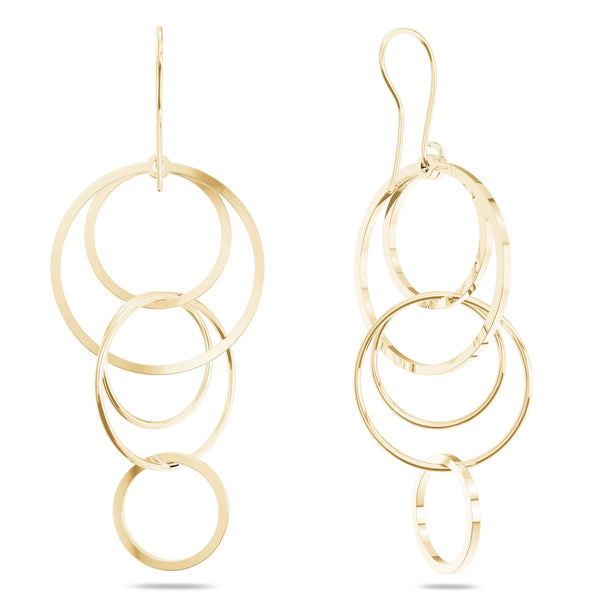 Perrywinkle's Simplicity Diamond Interlocking Circles Dangle Earring In 14K Yellow Gold