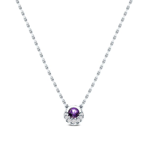 Perrywinkle's  1785 Classics Diamond Crescent Halo Necklace In 14K White Gold