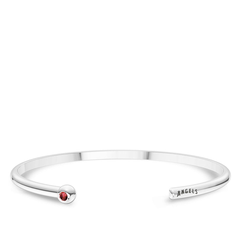 Los Angeles Angels Ruby Engraved Cuff Bracelet In Sterling Silver
