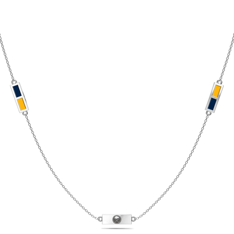 Buffalo Sabres Triple Station Necklace In Sterling Silver