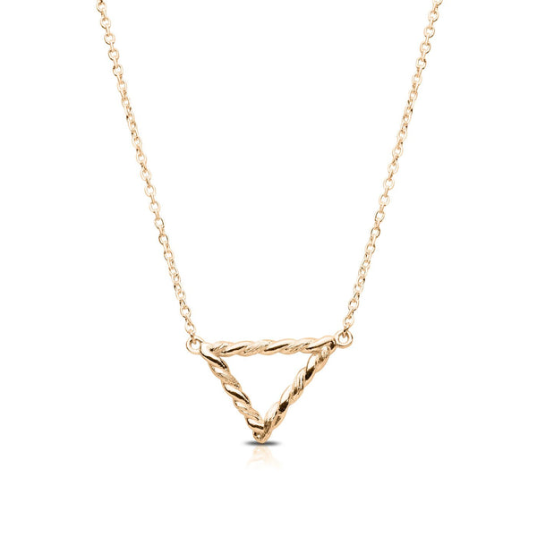 Perrywinkle's Simplicity Diamond Triangle Florentine Twist Necklace In 14K Yellow Gold