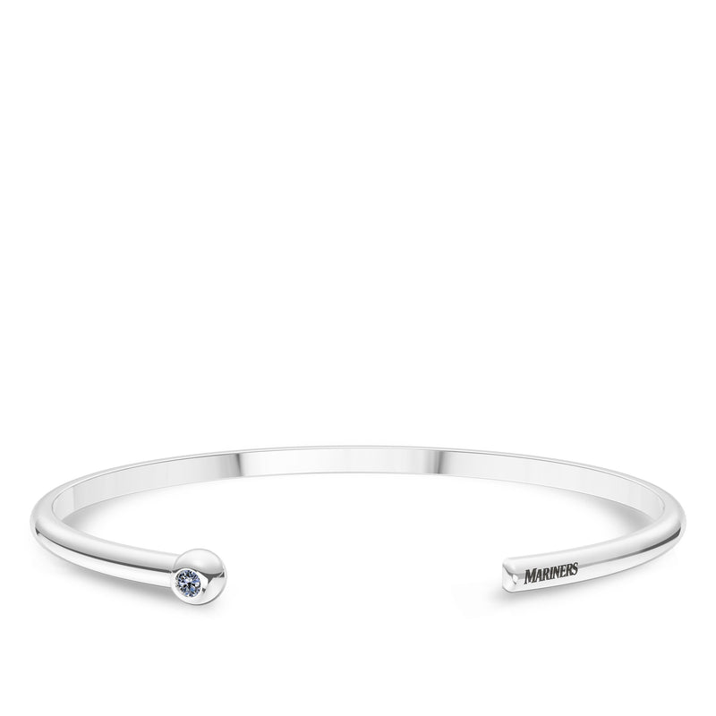 Seattle Mariners White Sapphire Engraved Cuff Bracelet In Sterling Silver