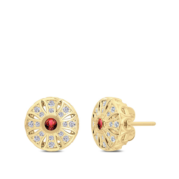 Perrywinkle's Rosette Ruby and Diamond Milgrain Sun Earrings In 14K Yellow Gold