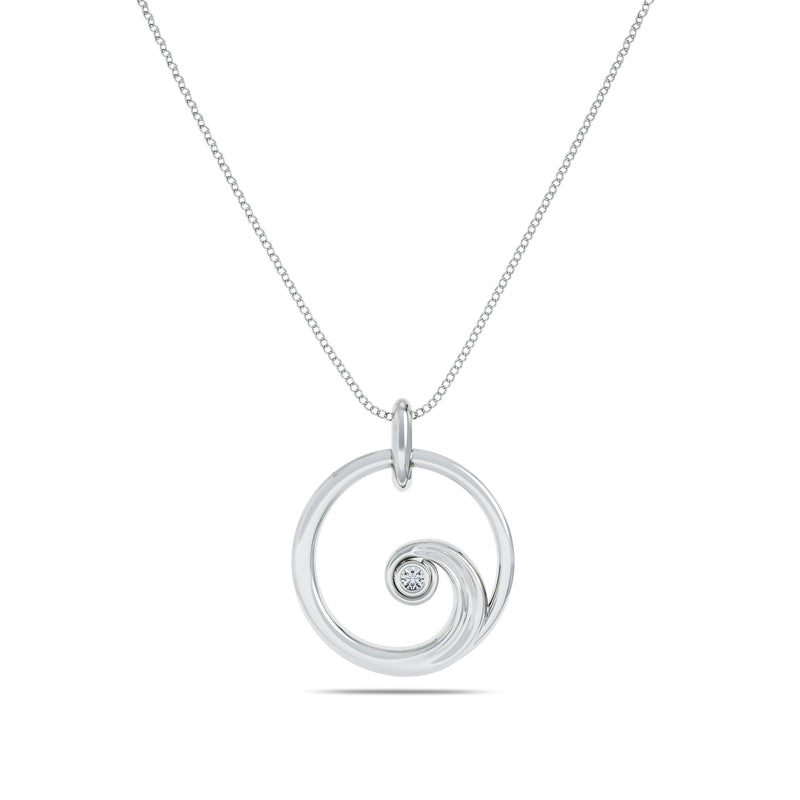 Perrywinkle's Nautical Diamond Wave Pendant In Sterling Silver