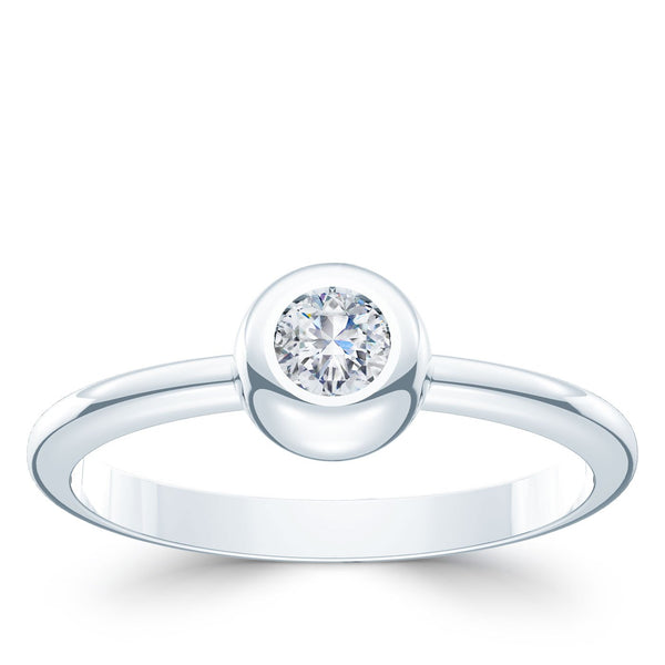 Perrywinkle's Dew Drop Diamond Bezel Ring In 14K White Gold