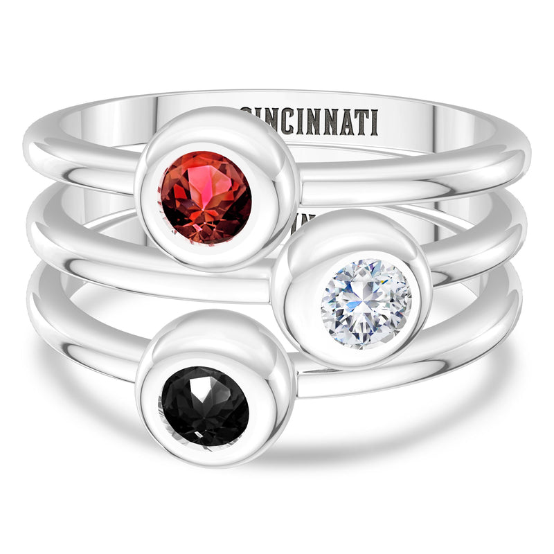 Cincinnati Reds Onyx Engraved Ring In Sterling Silver