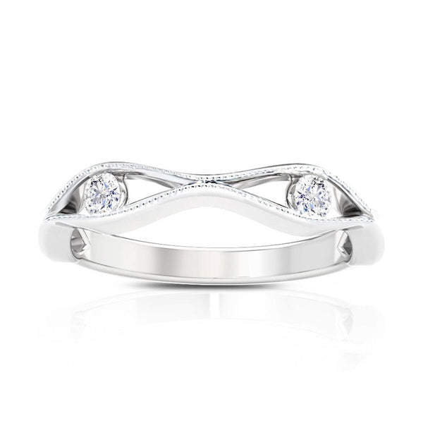 Perrywinkle's Easton Diamond Milgrain Open Wave Ring In 14K White Gold