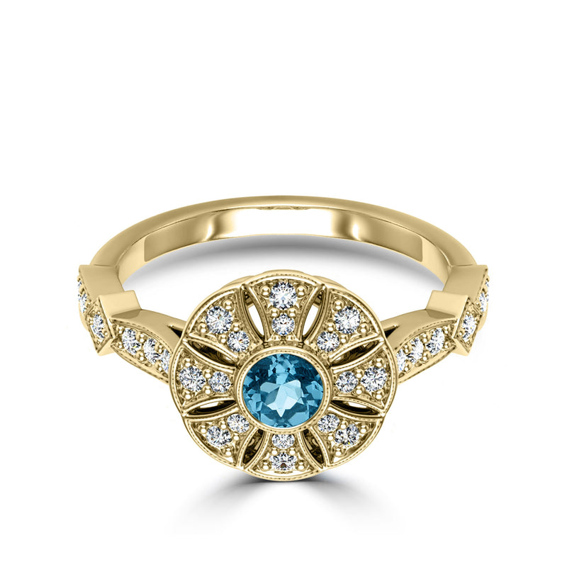 Perrywinkle's Easton Diamond Flower Milgrain Ring In 14K Yellow Gold