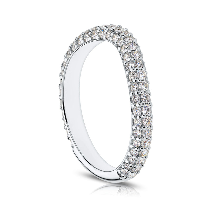 Perrywinkle's Prong Set Diamond Stella Contour Wedding Band In 14K White Gold