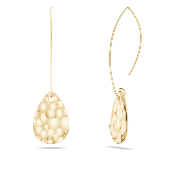 Perrywinkle's Simplicity Diamond Hammered Finished Teardrop Disc Dangle Earring In 14K Yellow Gold