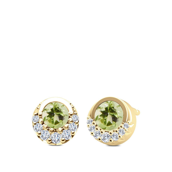 Perrywinkle's Easton Diamond and Peridot Crescent Halo Earrings In 14k Yellow Gold