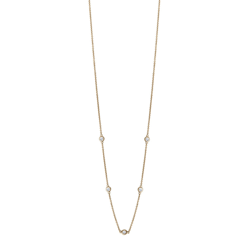 Perrywinkle's Dew Drop Diamond Bezel Necklace In 14k Yellow Gold