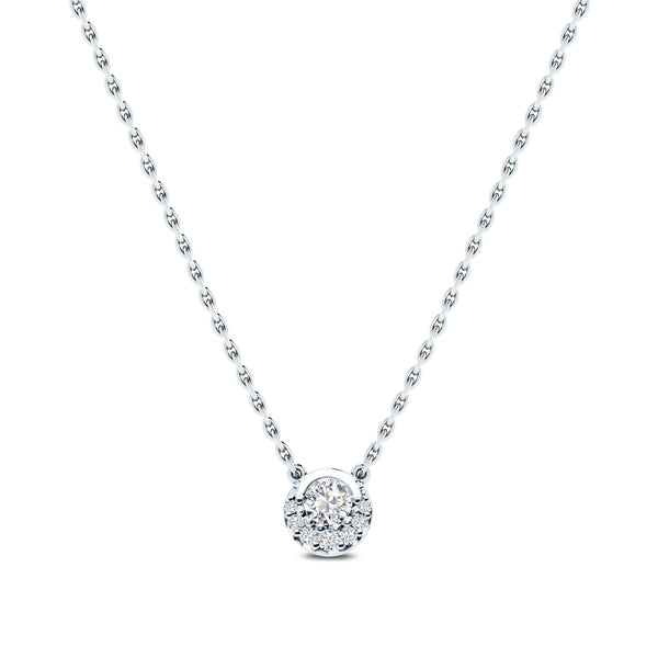 Perrywinkle's Easton Diamond Crescent Halo Necklace In 14K White Gold