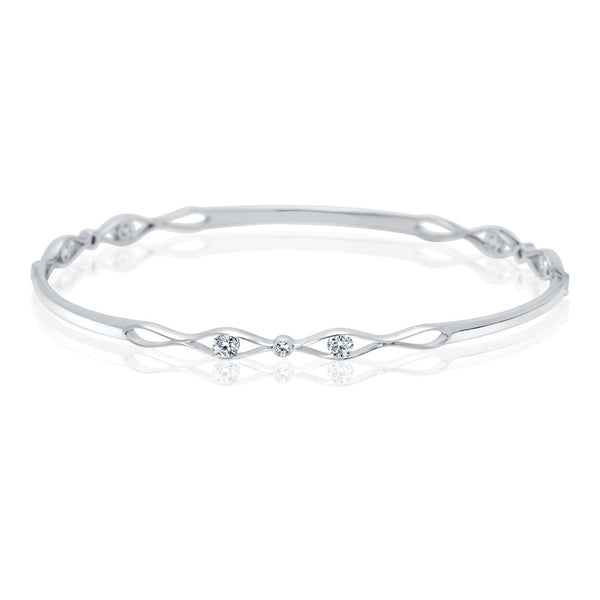 Perrywinkle's Easton Diamond Entwined Bangle In 14K White Gold