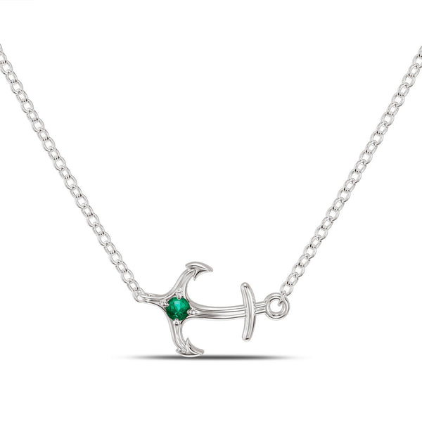 Perrywinkle's Nautical Diamond Single Anchor Necklace In 14K White Gold