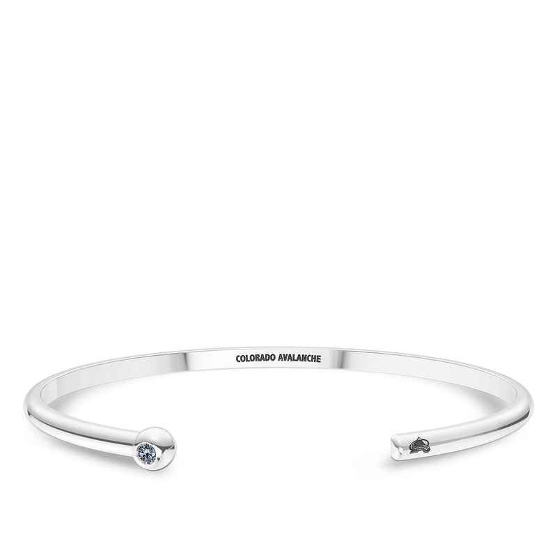 Colorado Avalanche White Sapphire Engraved Cuff Bracelet In Sterling Silver