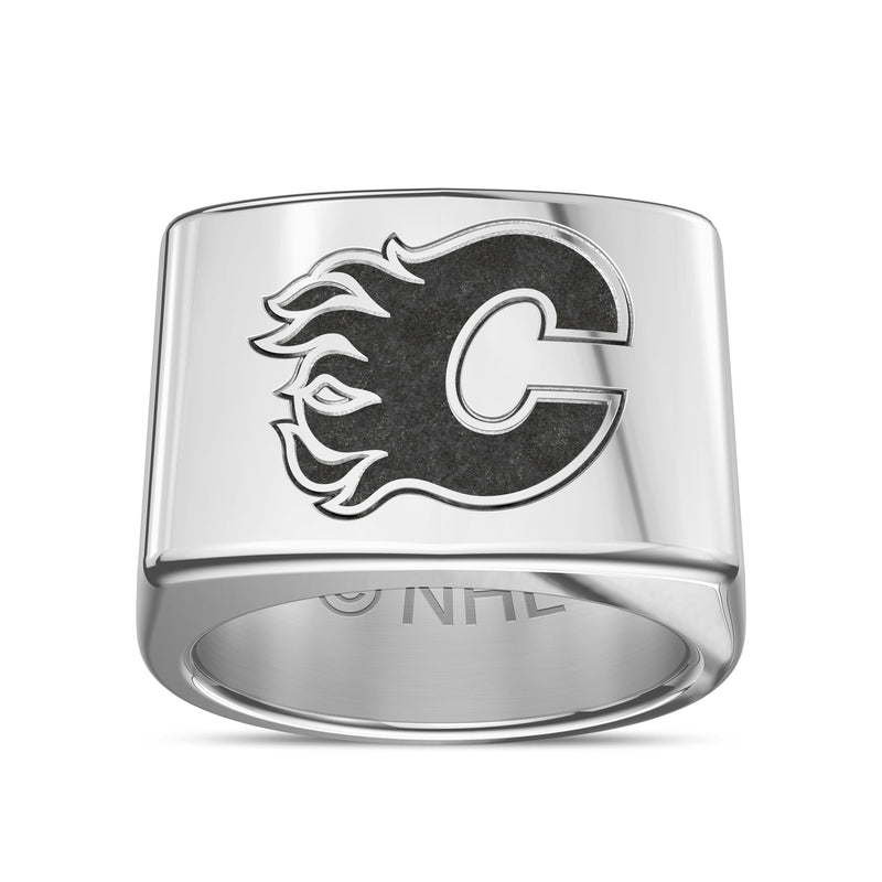 Calgary Flames Engraved Logo Ring In Sterling Silver