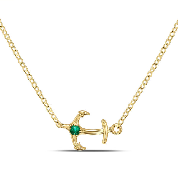 Perrywinkle's Nautical Diamond Single Anchor Necklace In 14K Yellow Gold