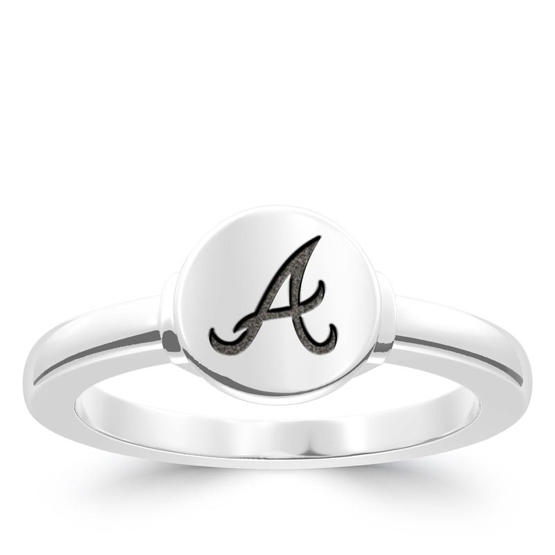 Atlanta Braves Logo Engraved Ring In Sterling Silver
