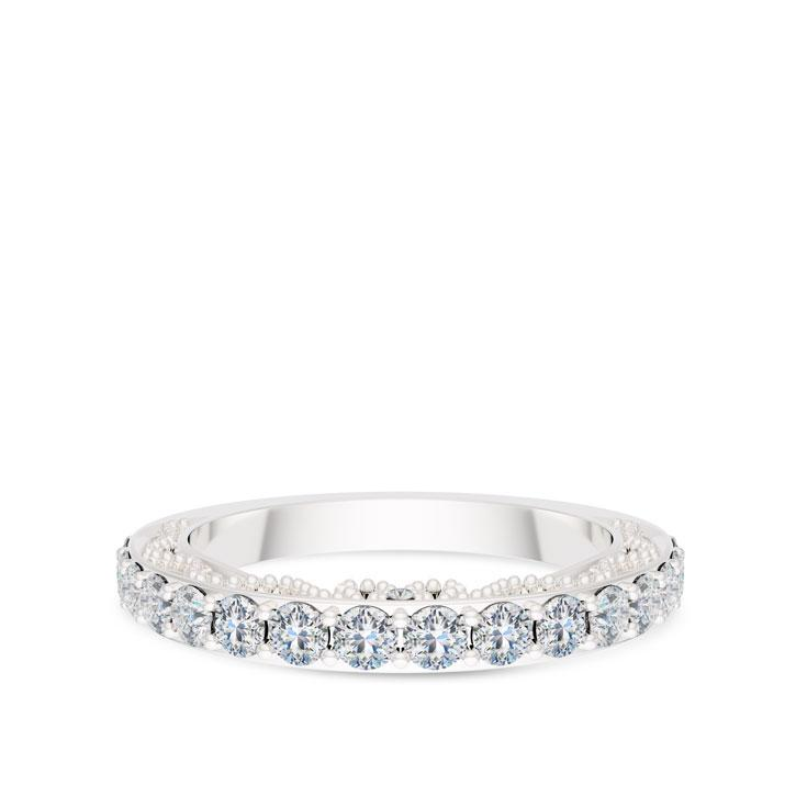 Perrywinkle's Prong Set Diamond Beaded & Pierced Gallery Wedding Band In 14K White Gold
