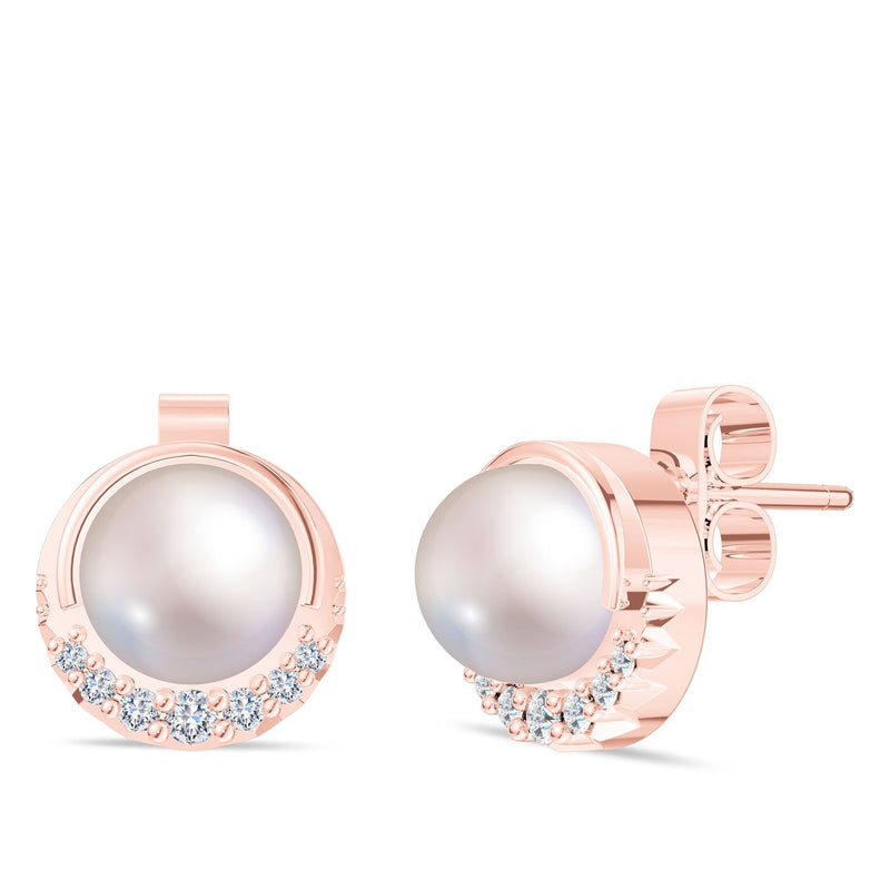 Perrywinkle's Easton Diamond Crescent Halo Earring In 14K Rose Gold