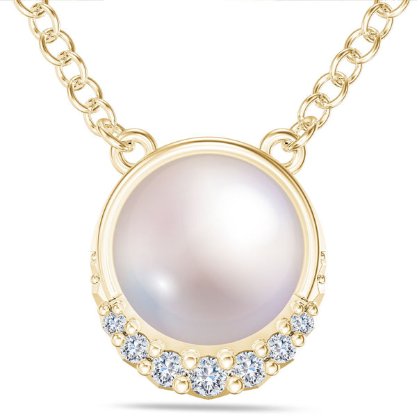 Perrywinkle's Easton Diamond Crescent Halo Necklace In 14K Yellow Gold