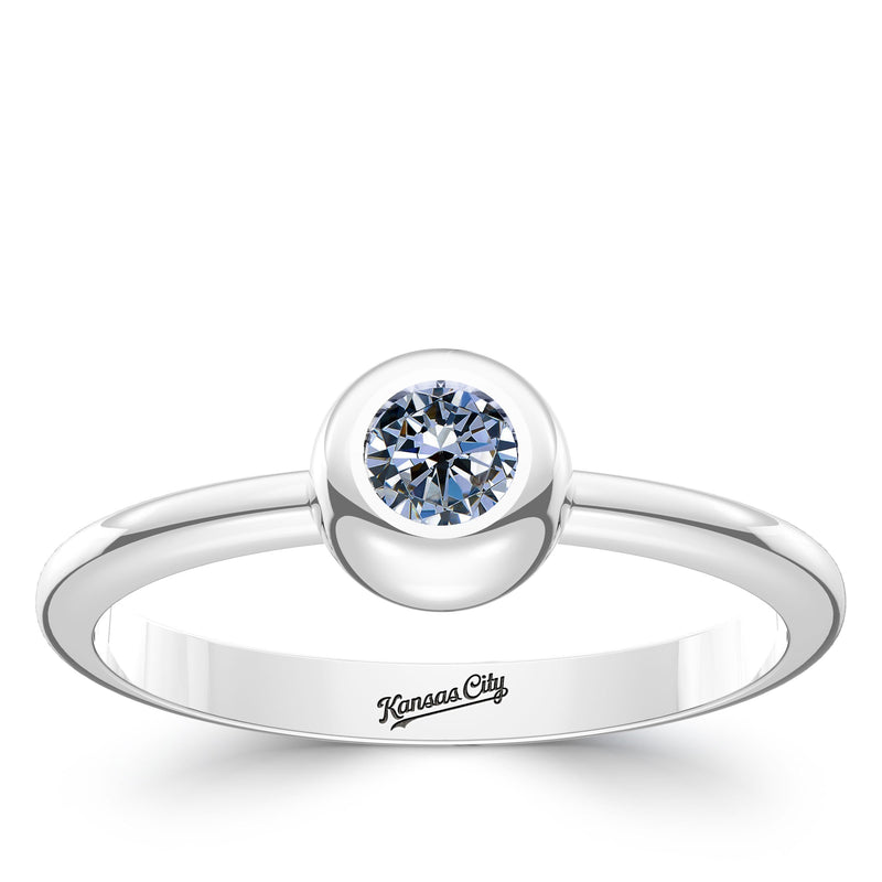 Kansas City Royals White Sapphire Engraved Ring In Sterling Silver