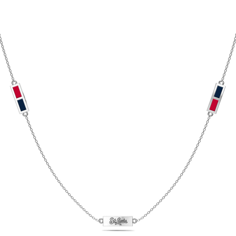 St Louis Cardinals Triple Station Necklace In Sterling Silver