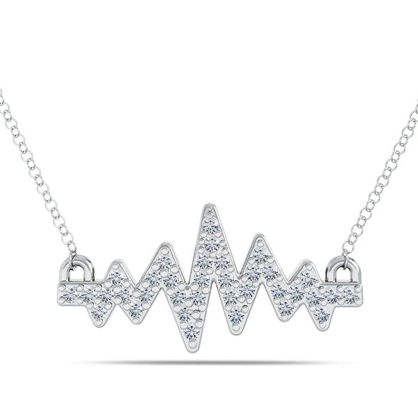 Perrywinkle's Pure Love Diamond Heartbeat Necklace In Sterling Silver