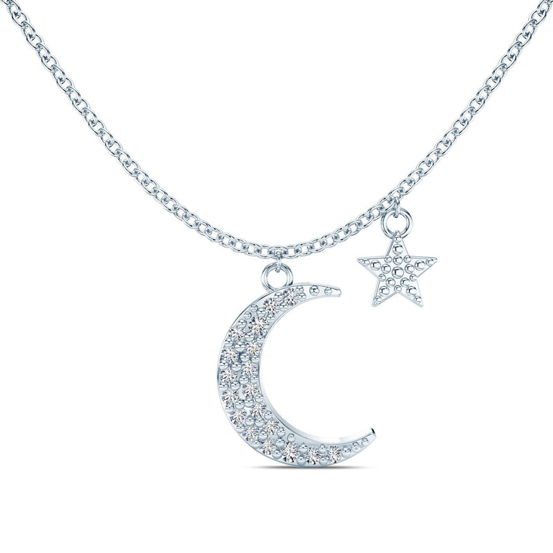 Perrywinkle's Etoile Moon & Star Necklace in 14K White Gold