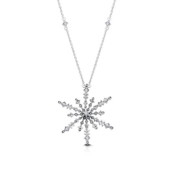 Perrywinkle's Celebration Diamond Snowflake Pendant In 14K White Gold