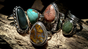 stone set sterling silver rings by Kristin Ellis