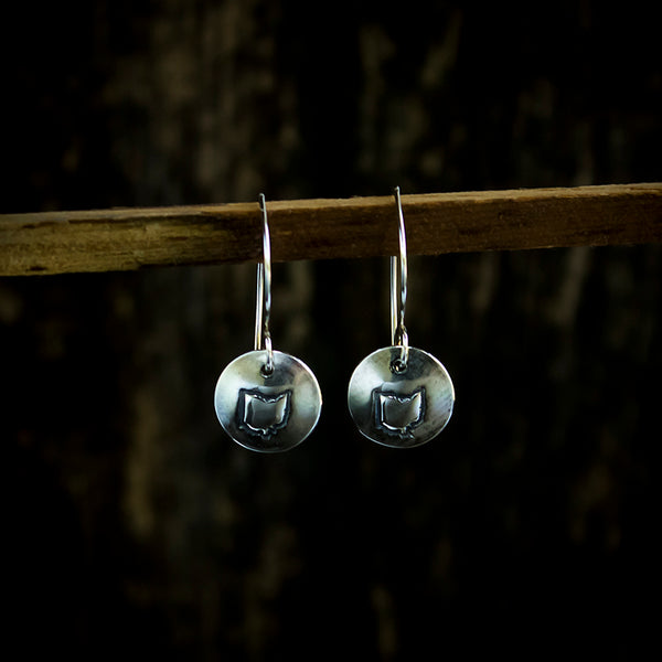 Sterling Silver Stamped Ohio Drop Earrings - Original Jewelry by Kristin Ellis