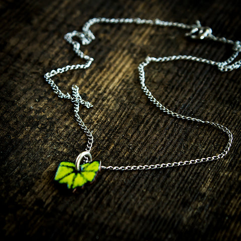 Ohio Enamel and Sterling Silver Necklace Chartreuse Green - Original Jewelry by Kristin Ellis