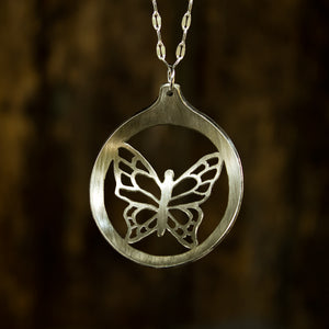Butterfly Fretwork Soup Spoon Necklace - Original Jewelry by Kristin Ellis