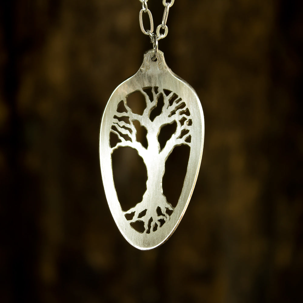 Tree of Life Fretwork Spoon Necklace - Original Jewelry by Kristin Ellis
