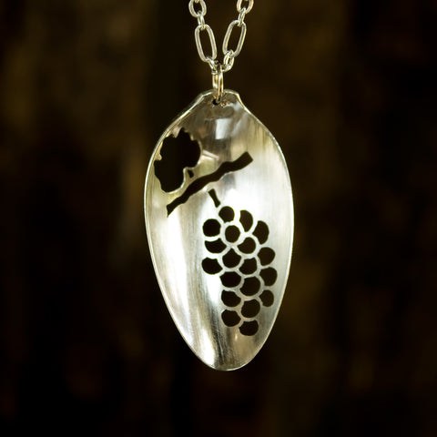 Bunch of Grapes Spoon Necklace - Original Jewelry by Kristin Ellis