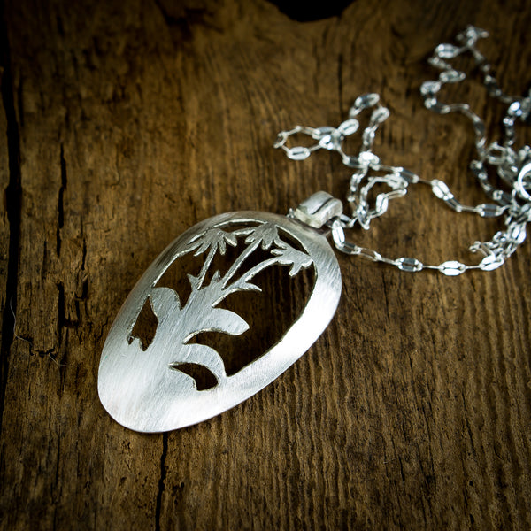 Brown Eyed Susan Wildflower Spoon Necklace - Original Jewelry by Kristin Ellis