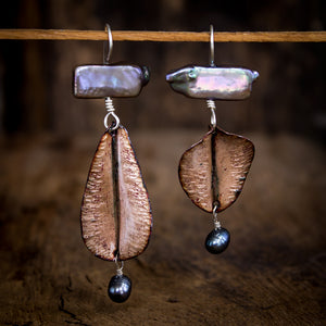 Hammered Copper Enamel and Sterling Earrings with Fresh Water Pearls - Original Jewelry by Kristin Ellis