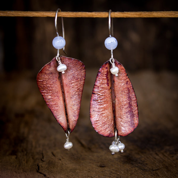 Hammered Copper Enamel and Sterling Earrings with Blue Lace Agate - Original Jewelry by Kristin Ellis