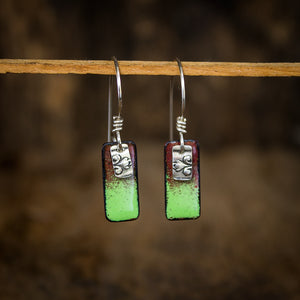Copper Enamel and Sterling Silver Earrings in Spring Green - Original Jewelry by Kristin Ellis