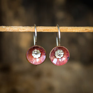 Copper Enamel and Sterling Silver Fairy Cup Earrings - Original Jewelry by Kristin Ellis