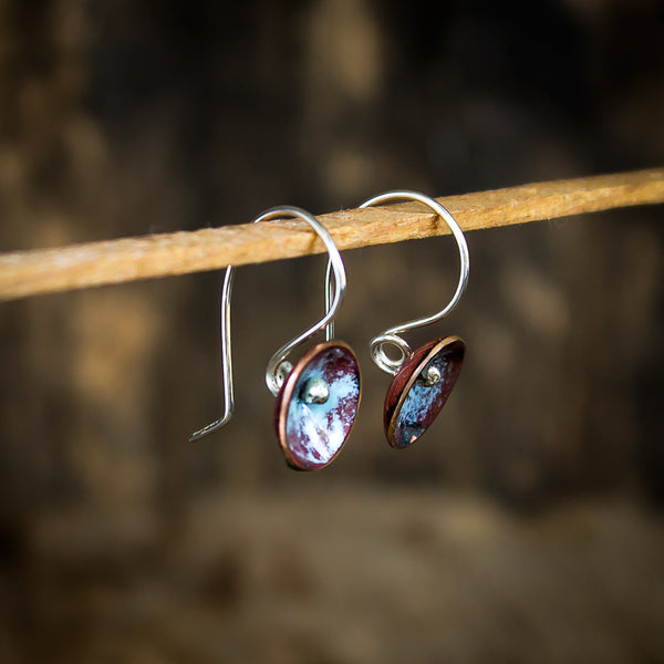Copper Enamel and Sterling Silver Fairy Cup Earrings, Powder Blue - Original Jewelry by Kristin Ellis