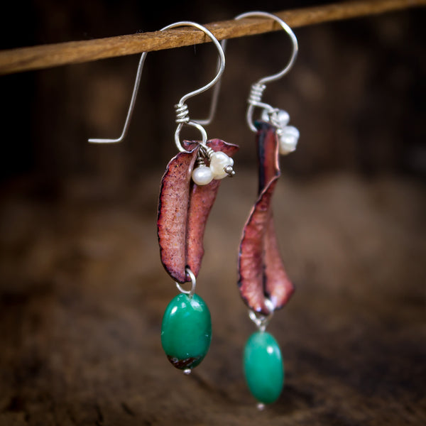 Hammered Copper Enamel and Sterling Earrings with Chrysoprase - Original Jewelry by Kristin Ellis