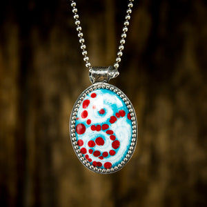 Red and Turquoise Vortex Enamel and Sterling Necklace - Original Jewelry by Kristin Ellis