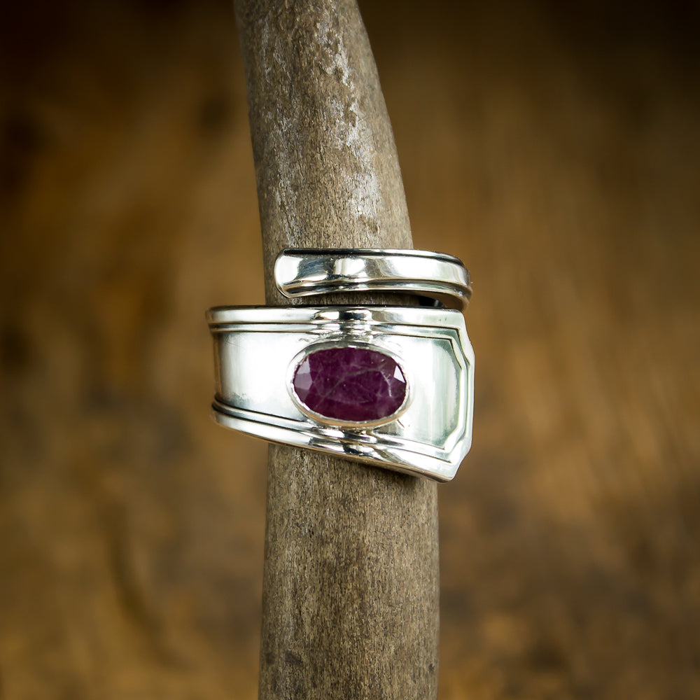 Sterling Silver Antique Spoon Ring set with Natural Ruby - Original Jewelry by Kristin Ellis