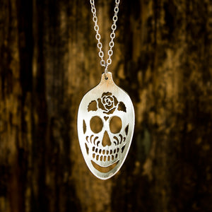 Sugar Skull Spoon Necklace with Rose - Original Jewelry by Kristin Ellis