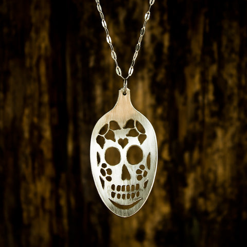 Sugar Skull Spoon Necklace with 4 Flowers - Original Jewelry by Kristin Ellis